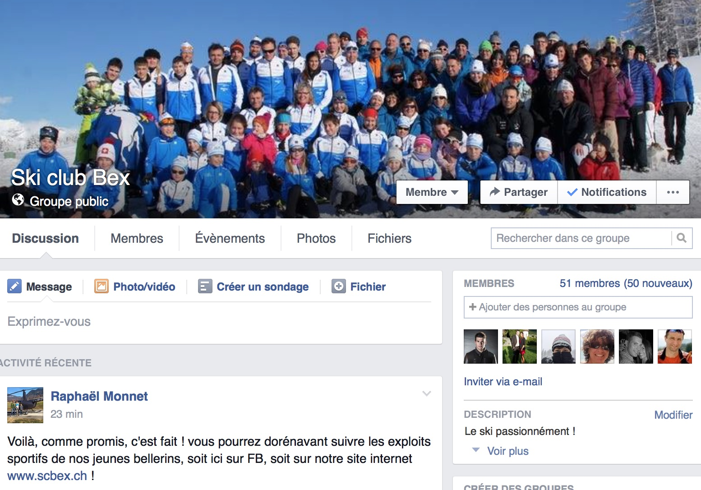 Le ski club Bex sur Facebook !