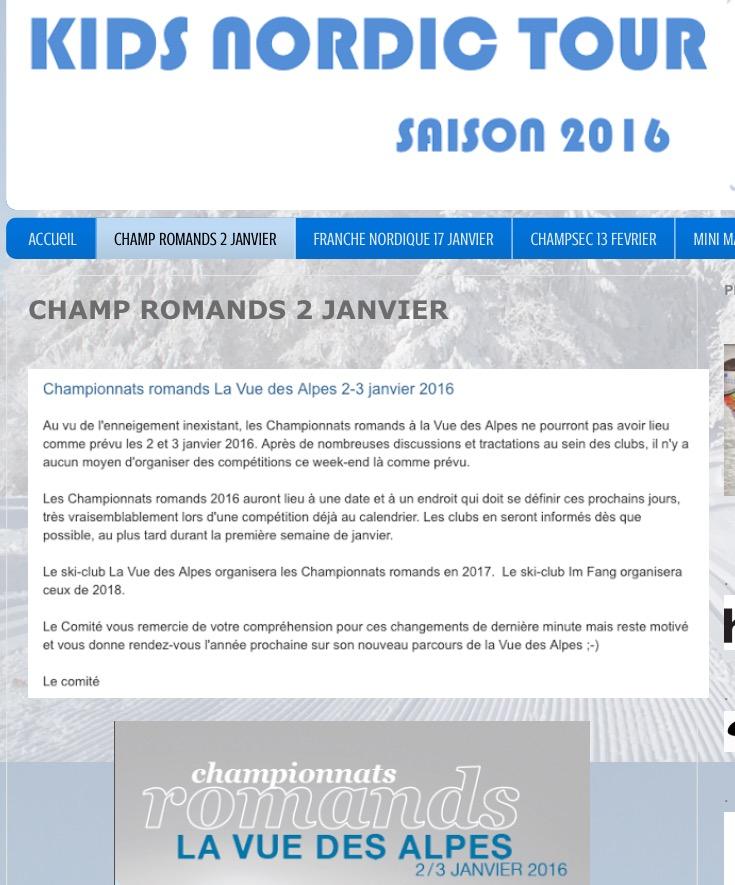 Les Championnats Romands reportés !