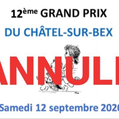 Annulation du 12ème Grand Prix du Châtel-sur-bex